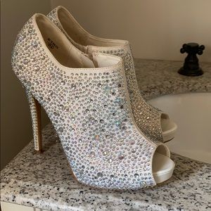 New white gem wedding heels